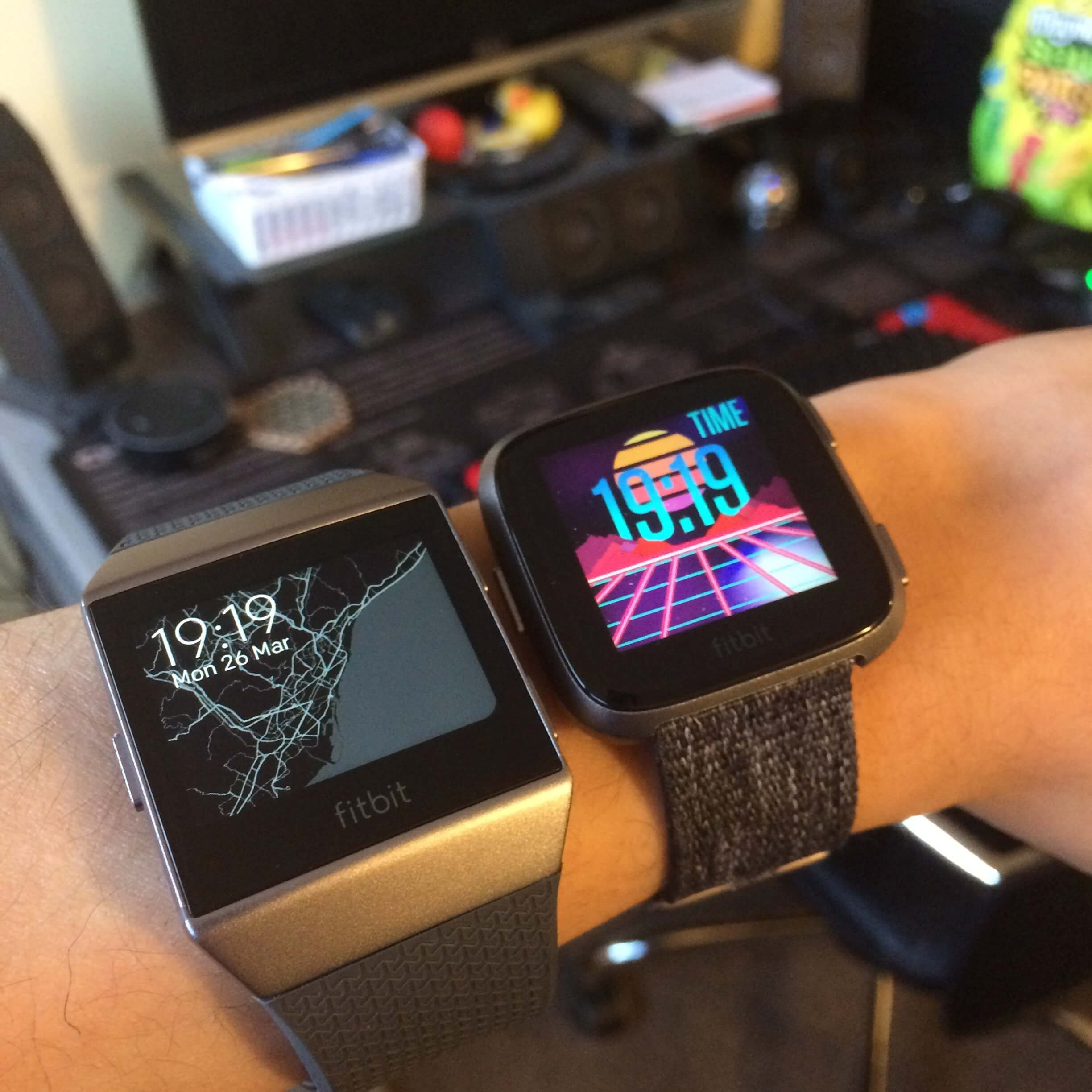 Fitbit Versa on wrist compared to Fitbit Ionic
