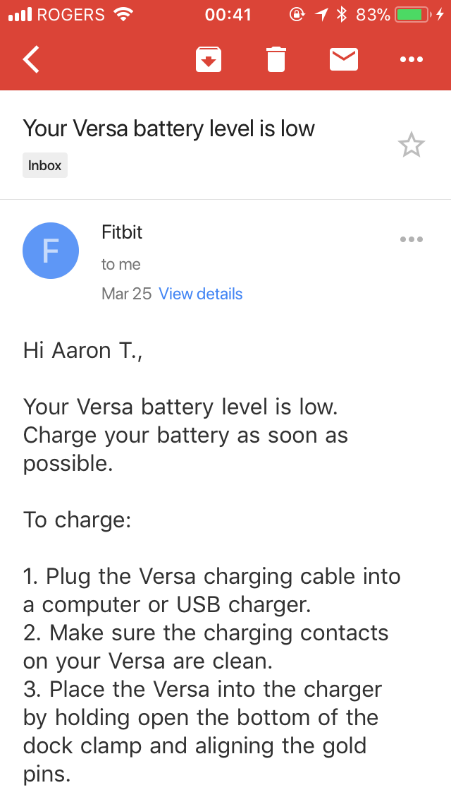 Fitbit Versa low battery email