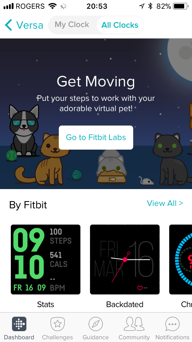 Fitbit OS App Gallery - clock faces