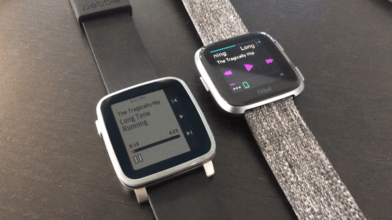 Fitbit Versa and Pebble Time 2 music screen