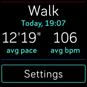 Fitbit Veras Today app recent exercise